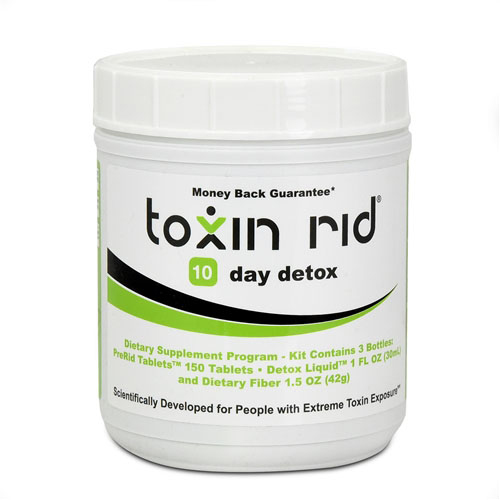 10 day toxin rid review with 150 pre rid pills and two bottles of fiber and liquid detox