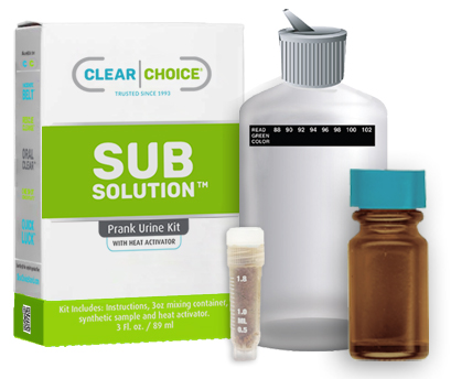 sub solution synthetic urine with heat activator, vial and plastic flask