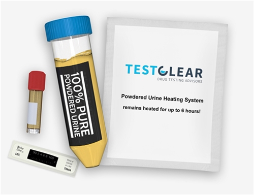 powdered urine kit by testclear with digital thermometer and test tube