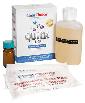 review of quick luck synthetic urine kit with contained, 3oz premixed synthetic urine, heat pads and heat activator